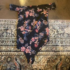 Free people flower bodysuit navy blue xs